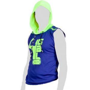 FIGHTER WEAR : t-shirt sans Manche à capuche sérigraphie-Bleu-M