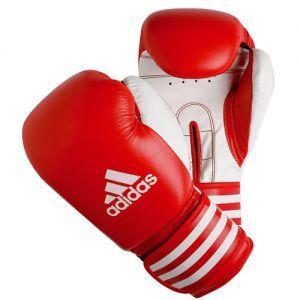 gants de boxe multiboxe cuir rouge blanc