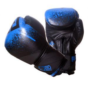 Gants de boxe rumble V5 CUIR Ltd STENCIL noir/bleu RD boxing