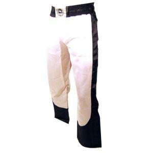 pantalon full contact a bandes stretch blanc noir - S
